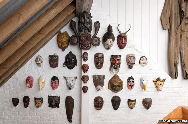 Masks in the studio of Sir Peter Blake