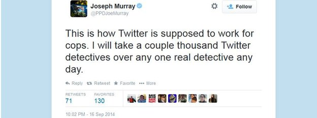 A tweet from detective Joseph Murray.