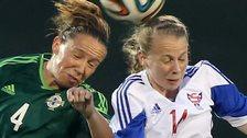 Northern Ireland's Lynda Shepherd in action against Eyovor Klakstein of the Faroe Islands