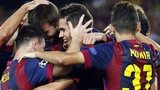 Barcelona players celebrate scoring against Apoel Nicosia in the Champions League