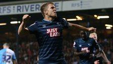 Derby's Jamie Ward celebrates scoring against Blackburn