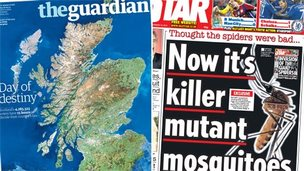 Composite image of Guardian and Star front pages