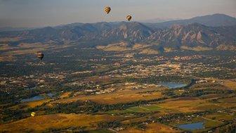 Hot air balloons over Boulder, Colorado