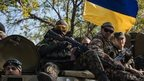 Ukrainian soldiers in Kramatorsk, 15 Sept