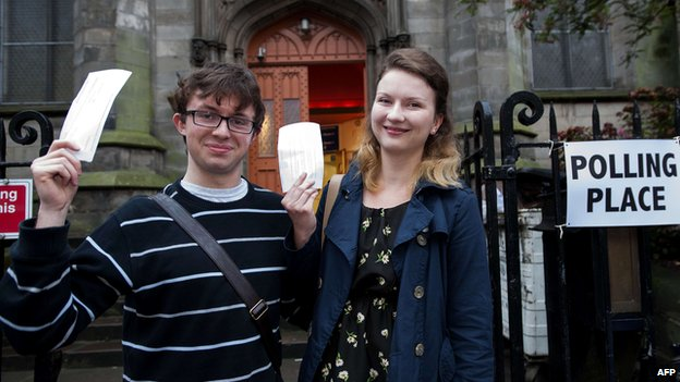 These voters in the south of Edinburgh were among the first to have their say on Scotland's future.