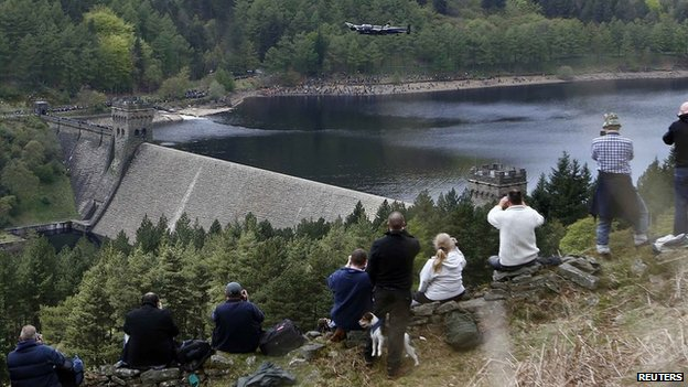 Lancaster flies over Derwent Reservoir in 2013