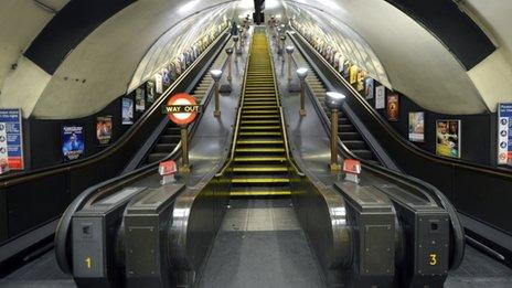 London Underground escalator at Swiss Cottage