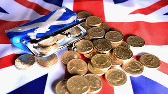 Pound coins on Union Jack
