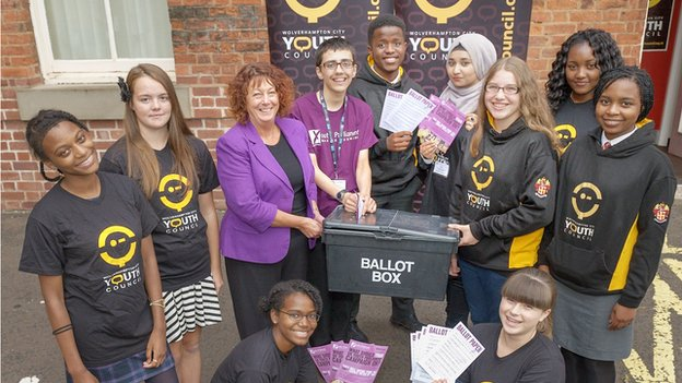 Wolverhampton City Council's cabinet member for children and families Councillor Val Gibson with members of the Youth Council promoting the Make Your Mark campaign at the new Youth Council offices at Red Lion Street.