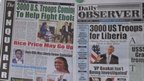 Newspaper front pages in Monrovia