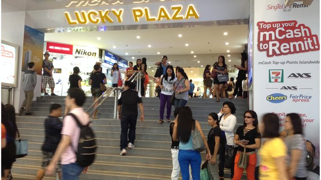 Picture of Lucky Plaza, a Filipino hub in Singapore