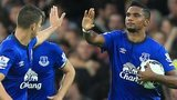 Samuel Eto'o celebrates with Everton team-mate Kevin Mirallas