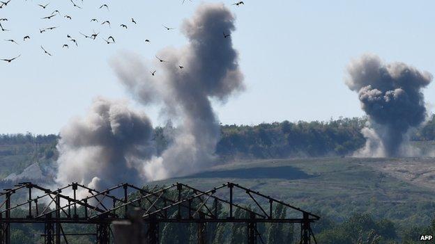 Shelling 50km east of Donetsk (18 Sept)