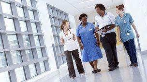 Healthcare team of nurses and doctors
