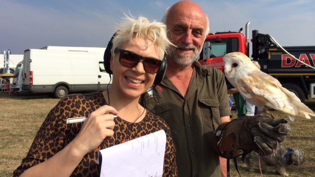 Kat Orman with Ray Prior and an owl