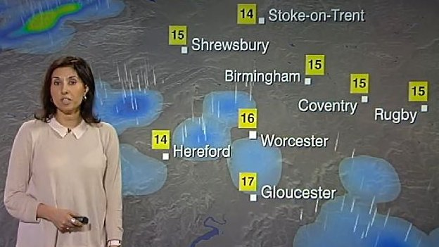 Shefali Oza presents the weather forecast