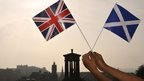 Union Jack and Scotland flags