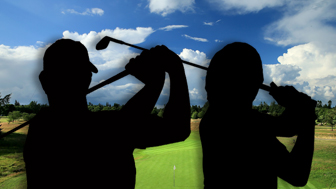 Two contenders for the 'greatest Ryder Cup player' silhouetted against a golf course backdrop