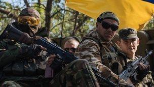 Ukrainian soldiers in Kramatorsk, 15 Sept