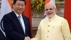 Chinese President Xi Jinping and India's PM Narendra Modi in Delhi, 18 September 2014