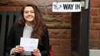 Schoolgirl Ivy Hare, aged 17, shows off her vote