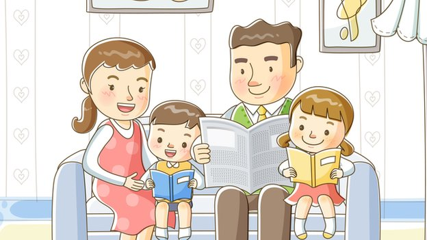 An illustration of a family sitting on a couch.