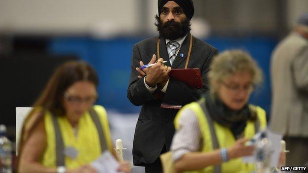 Referendum votes are counted in Edinburgh
