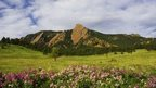 A meadow in front of the Flat Iron mountains near Boulder