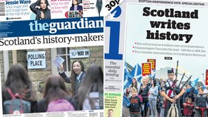 Composite image of Guardian and i front pages