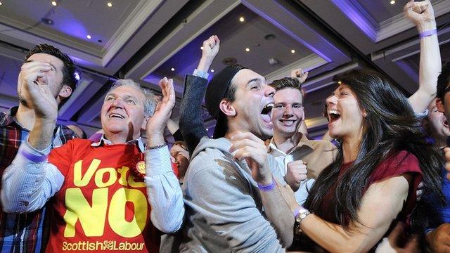 Celebratory No campaigners