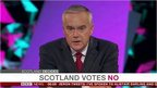 Huw Edwards with 'Scotland Votes No' graphic on screen