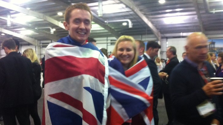 Robbie MacNiven, 22, from Inverness and 21-year-old Solvein Siem from Norway celebrate the No vote at Ingliston.