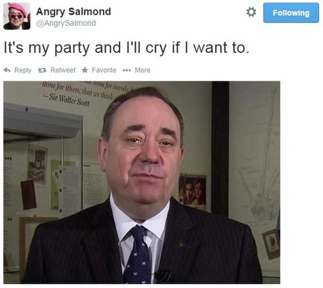 "A tweet reading ""it's my party and I'll cry if I want to"" showing a picture of Alex Salmond in tears"