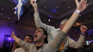 'No' supporters celebrate