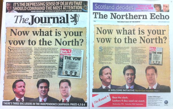 Journal and Northern Echo front pages
