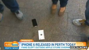 A dropped iphone 6 on the floor