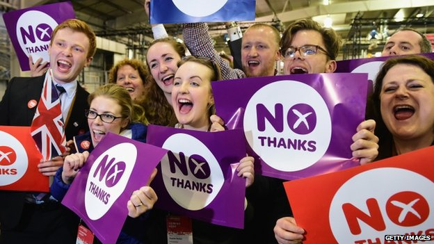 Better Together supporters celebrate the result of the Scottish referendum on independence