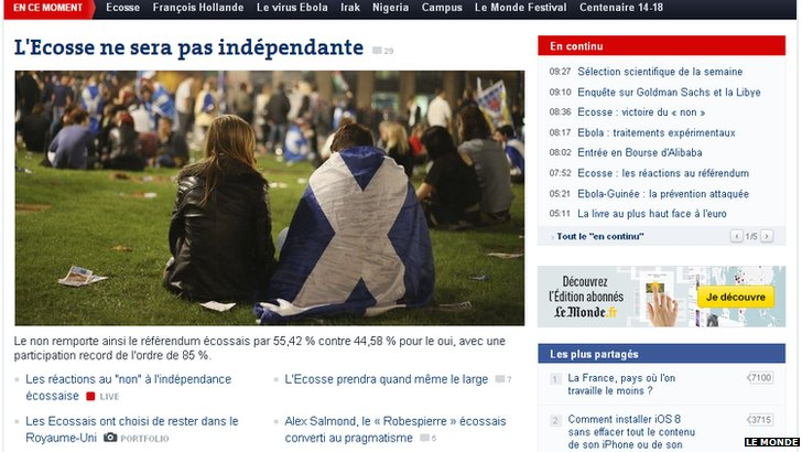le Monde reports on Scotland's referendum