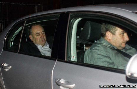 Alex Salmond in the back of a car