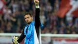 Craig Gordon salutes the Celtic fans after the game