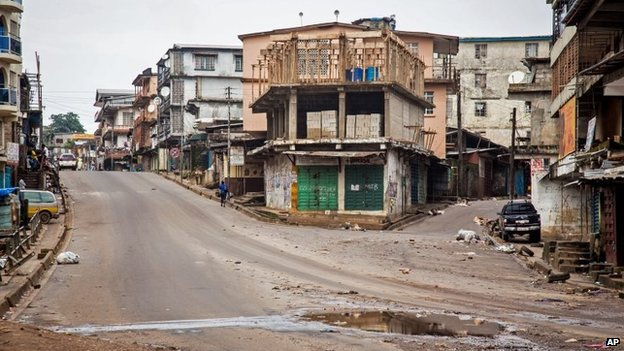 Empty streets in Freetown, Sierra Leone, 19 September 2014