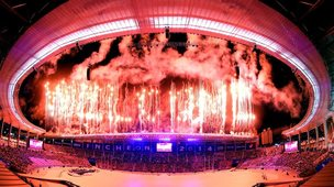 Fireworks explode over Incheon Asiad Stadium