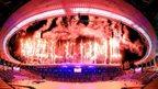 Fireworks explode over Incheon Asiad Stadium