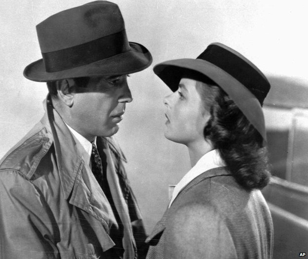 Humphrey Bogart, left, and Ingrid Bergman in Casablanca