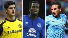 Thibaut Courtois, Romelu Lukaku and Frank Lampard