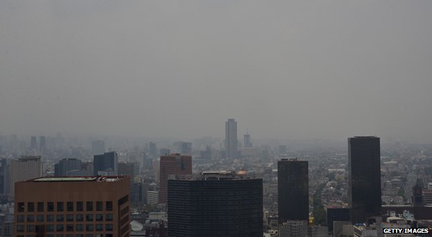 Mexico City through the smog
