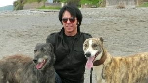 Derrel Weaver with two dogs