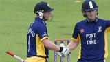 Ben Stokes of Durham reacts with Paul Collingwood after hitting a century