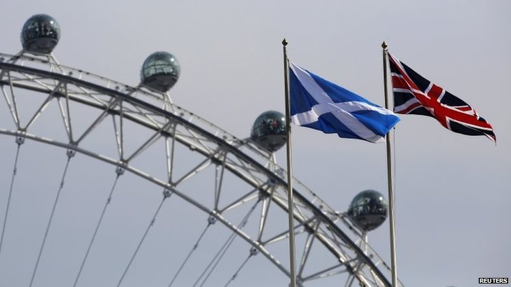 A Scottish Saltire flag and British Union flag fly together with the London Eye behind in London