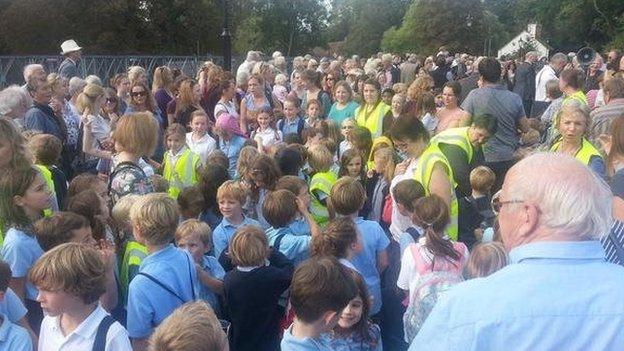 Crowd on Whitchurch bridge